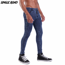 цены на Single Road Skinny Jeans Men 2019 New Dark Blue Streetwear Stretch Denim Pants Male Slim Fit Mens Super Skinny Jeans Homme Brand  в интернет-магазинах
