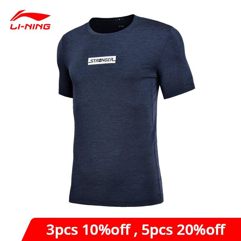 Li-Ning Men Training T-Shirts Regular Fit 88% Polyester 12% Spandex Breathable LiNing Li Ning Sports Tee Tops ATSN091 MTS2753