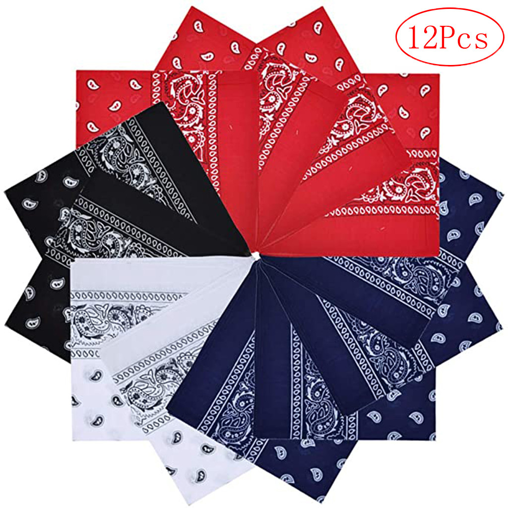 Vintage Square 12pc Pure Cotton Tie-dyed Headscarf Paisley Scroll Bandanna Tie-dyed Square Neck Scarf Wristband Pocket Towel