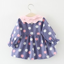 Girls Dress Kids Clothes Long Sleeve Cartoon Strawberry Pattern Children Clothing Baby Girls Dresses 40 children clothes long sleeve strawberry patten 100