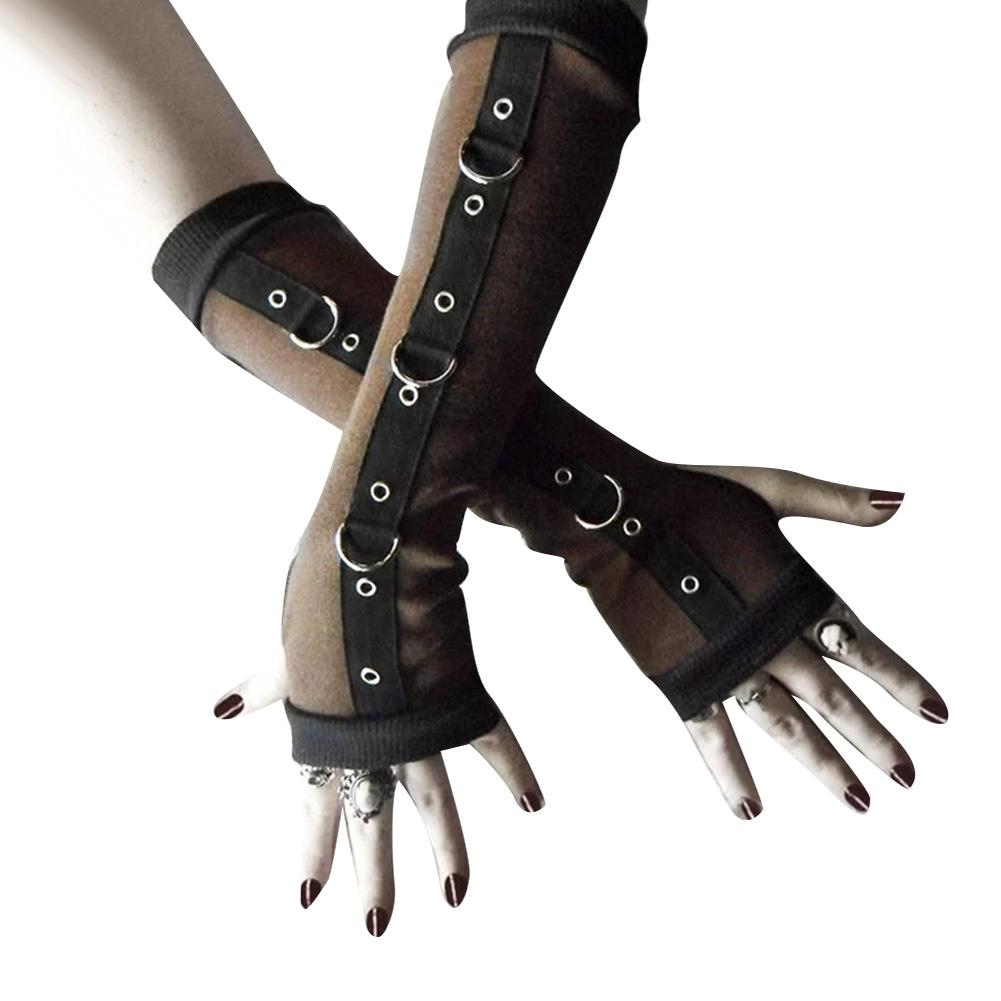 Punk Women Fingerless Gloves Metal D-ring Arm Warmer Sleeves With Thumb Hole