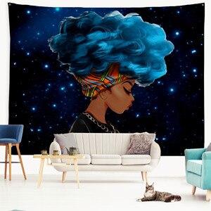 Image 4 - PROCIDA гобелен на стену искусство полиэстер ткань черная девушка тема, Настенный декор для общежития, спальни, ногтей включены