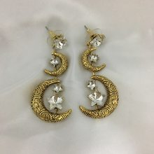 New fashion personality retro stars and moon exaggerated earrings