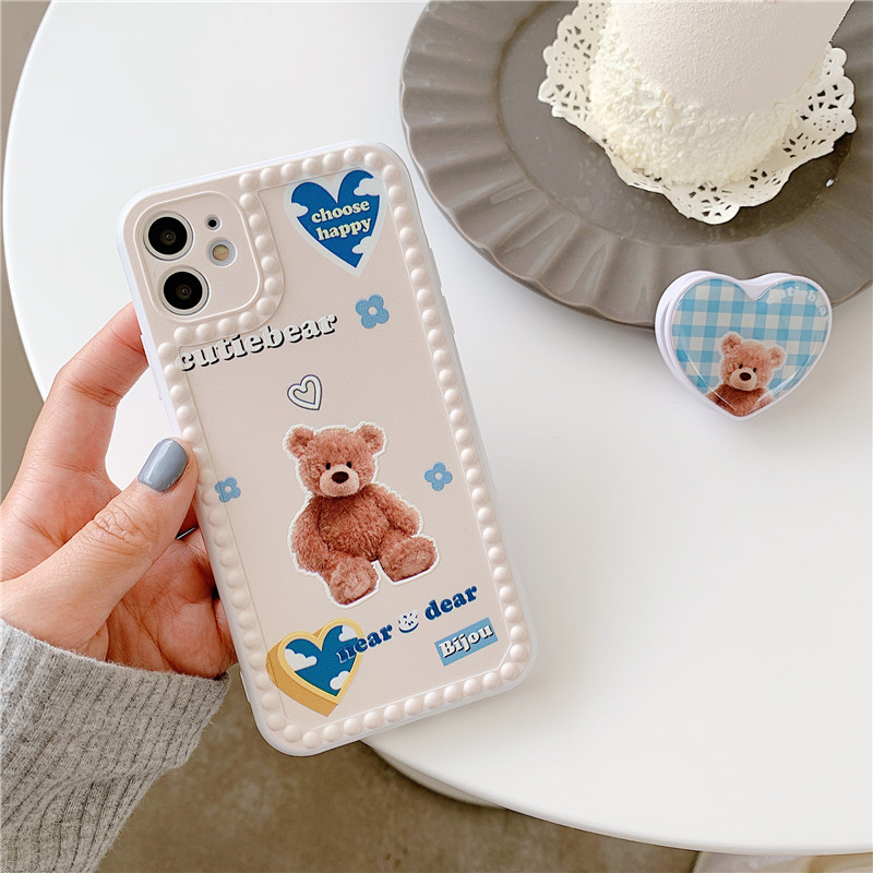3D Cartoon Bear Grip Stand Holder Phone Case For Iphone 7 11 Pro 12 XR X XS MAX SE 20 8Plus Soft Silicone Cover Slim Fundas