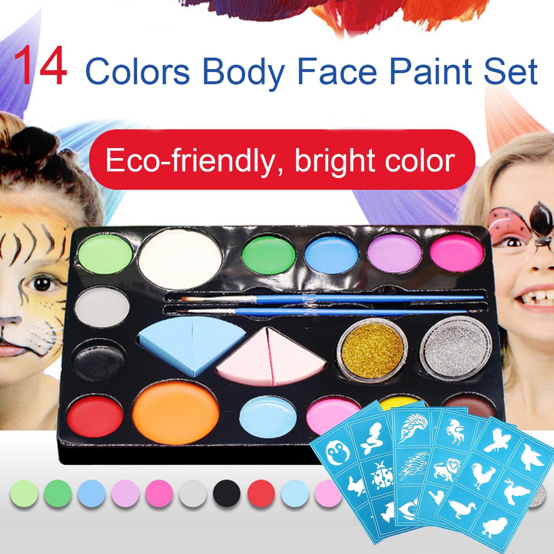 14 cores diy corpo rosto tintas conjunto com 5 pcs estênceis para crianças adultos cosplay desempenhos role play halloween corpo rosto pintura