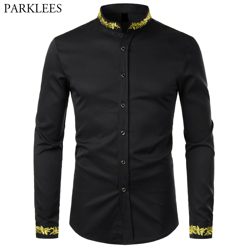 Gold Embroidery Shirt Mens Stand Collar Brand Men Long Sleeve Casual Slim Fit  Men Dress Shirts Fashion Prom Party Mens Chemise