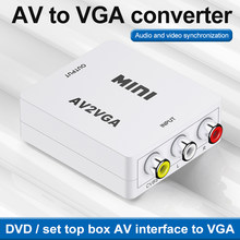 Conversor de vídeo kebidu av2vga, conversor de vídeo hd com áudio 3.5mm av vga para pc e tv hd computador para tv