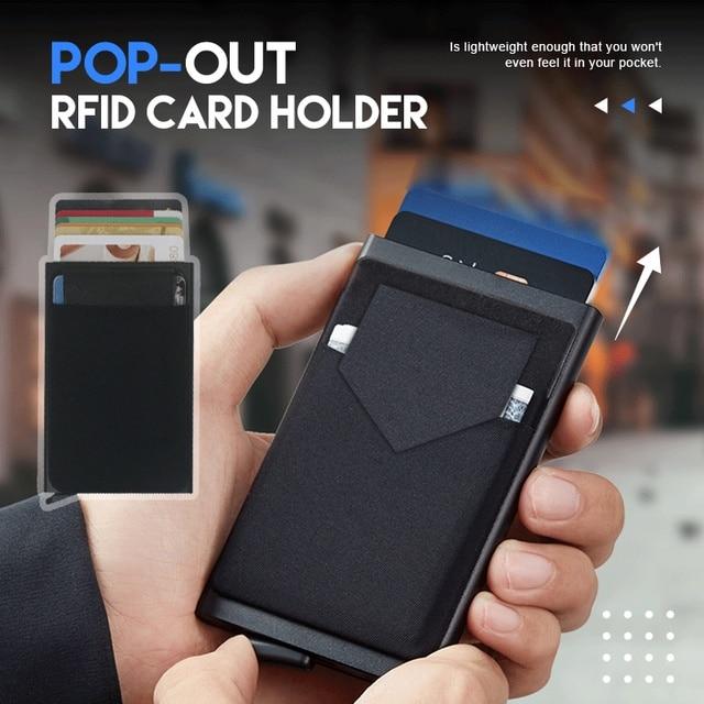 Portefeuille Pop-Up pour hommes et femmes, carte d'identité RFID, Mini paquet, sac de rangement d'équipement de protection en aluminium et métal, à dégagement rapide intelligent 1