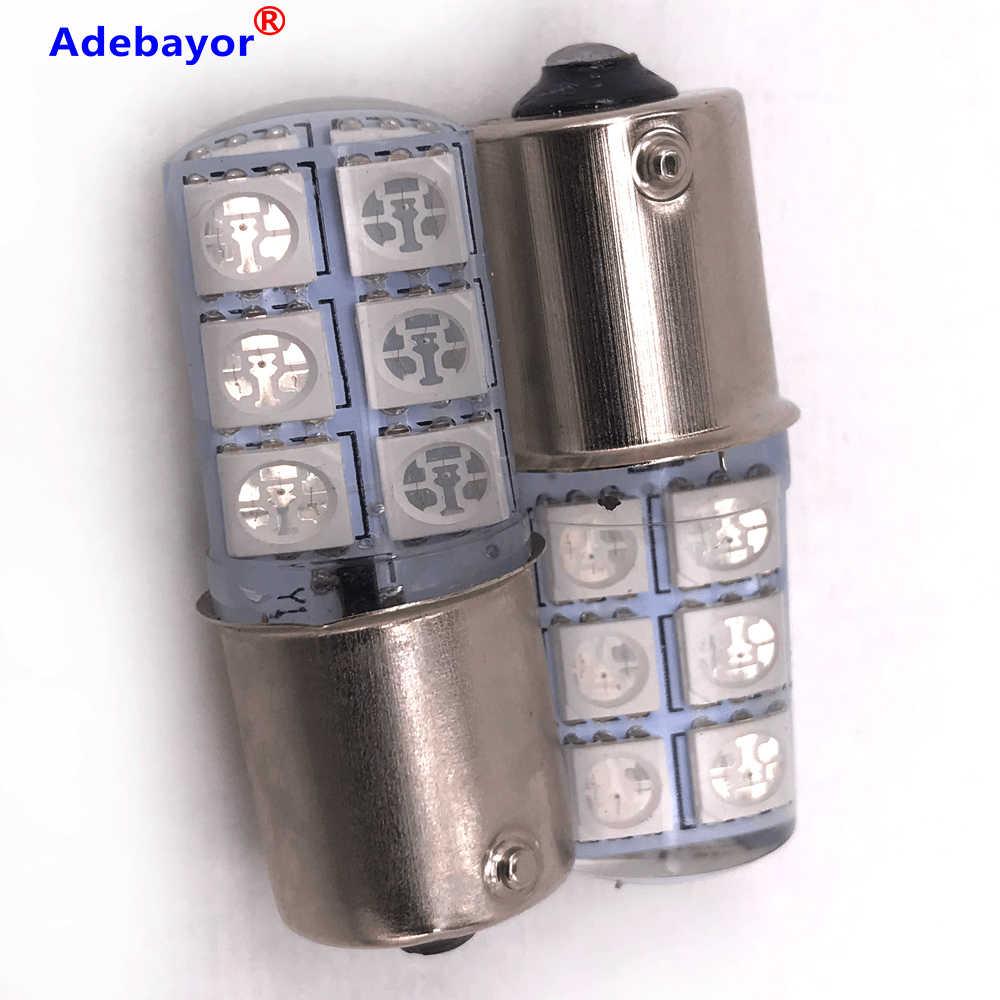 100 個 1156 BA15S COB Led カーライト P21W 1156 5050 12 Smd Led ブレーキ停止信号電球クリスタルライト 12V RGB 7coor アデバヨール