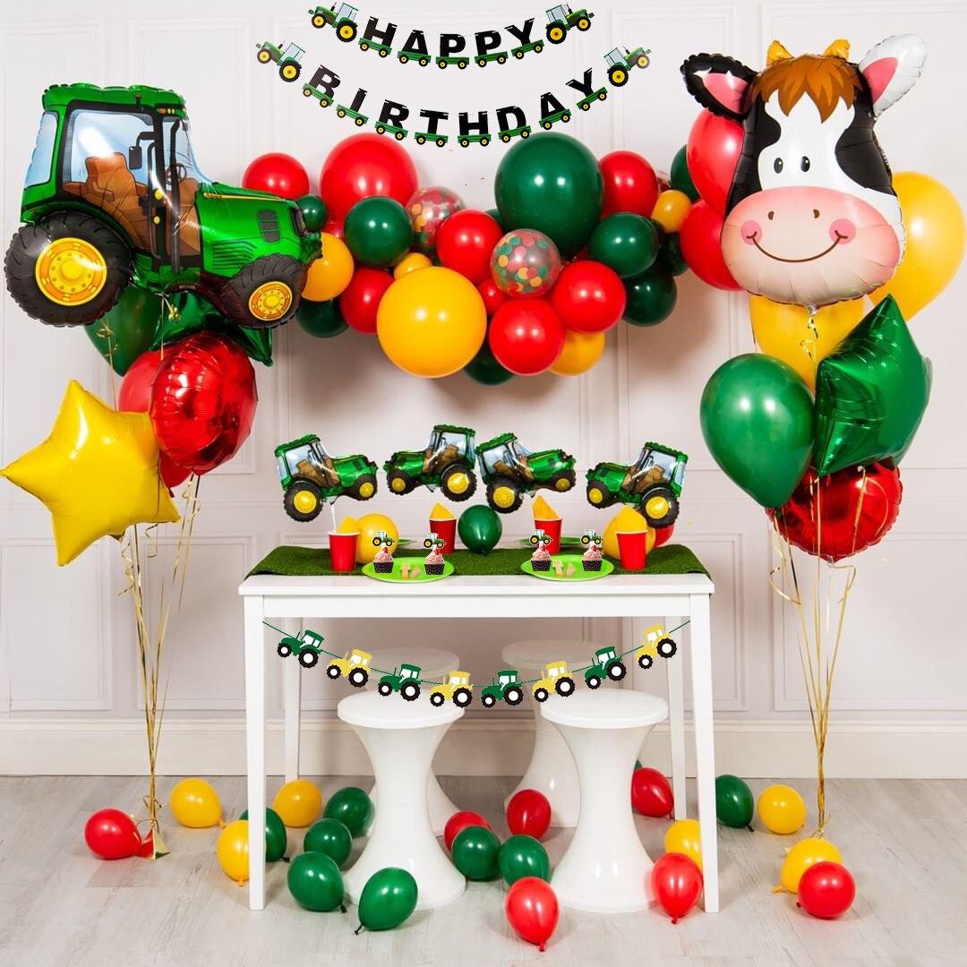 Construction Vehicle Happy Birthday Banner Excavator Bulldozer Truck Flags G