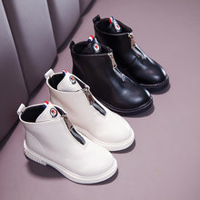 2019 Children Martin Boots Leather Shoes Girl Boots Autumn and Winter New Kids Warm Snow Cute Boots Girl's Non-slip Shoes(China)