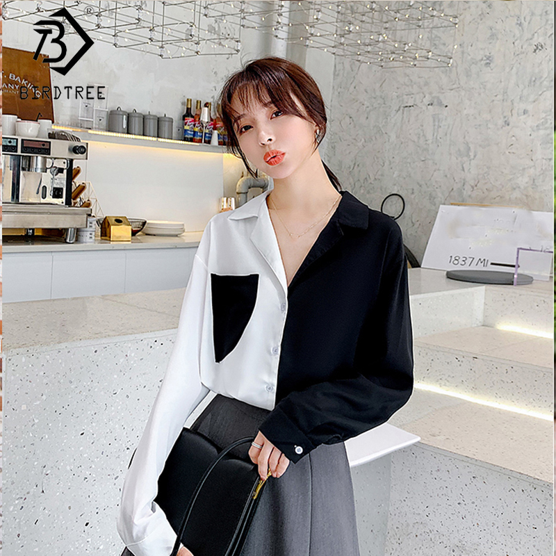 2020 Spring New Women's Patchwork Chiffon Shirt Long Sleeve Office Lady Blouse Fashion Turn-down Collar Tops With Pocket T9D616O