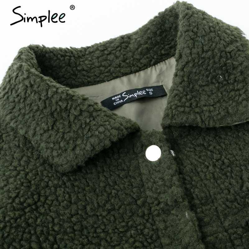 Simplee 子羊ウール冬の女性の毛皮暖かいトレンディ毛皮アーミーグリーン女性のコートのジャケットポケットフェイクファーのコートのアウター 2018