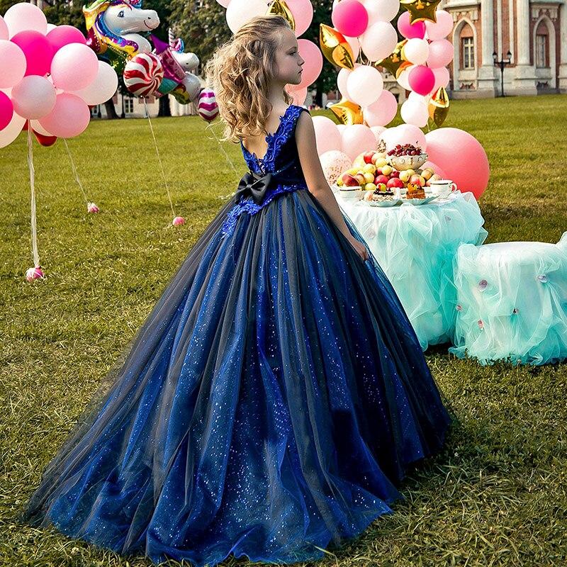 Blue Girls Dresses Shinny Girl Party Dresses Dark Blue Evening Dresses Girls Pageant Dresses