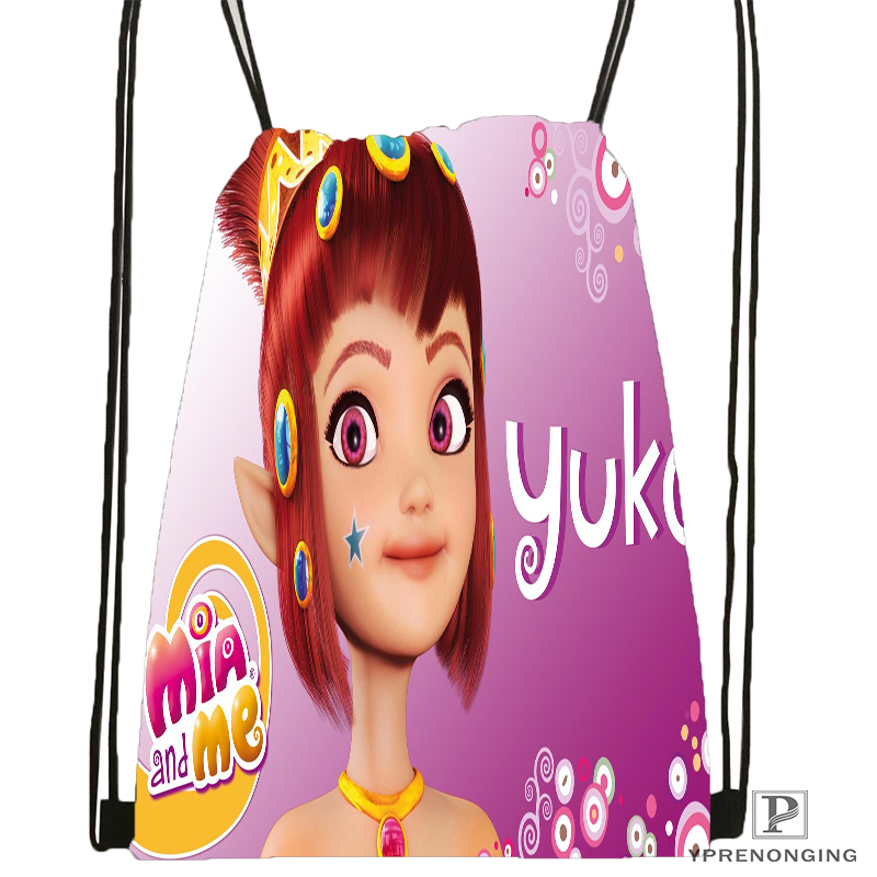 Custom Mia And Cartoon Me Drawstring Backpack Bag Cute Daypack Kids Satchel (Black Back) 31x40cm#180531-02-06