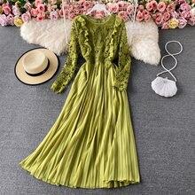 2021 nova primavera vestido feminino elegante manga longa sólida magro a linha de festa robe moda rendas retalhos vestido plissado longo