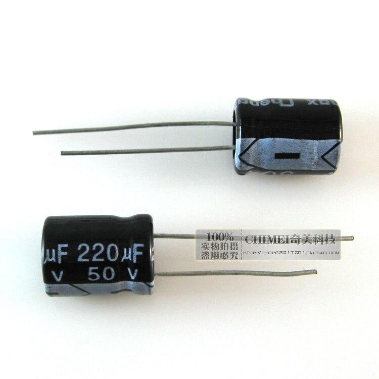 ¡Entrega Gratuita! Condensadores electrolíticos 220 uf 50 v 10*10x14mm tamaño del condensador 14mm