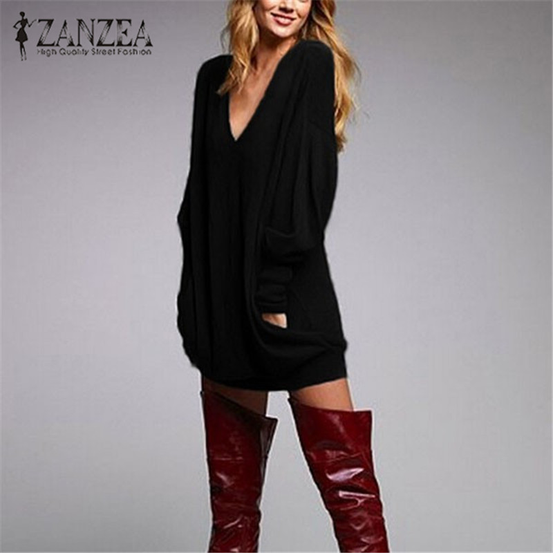 2019 Fashion Sweater ZANZEA Women <font><b>Autumn</b></font> Long Sleeve Jumper Casual <font><b>Sexy</b></font> V Neck Knit Sweater Loose Pullovers Tops Pull Femme <font><b>5XL</b></font> image