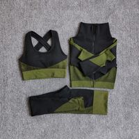3PcsSetGreen - Women Seamless Fitness Yoga Suit Color-blocked Sportwear