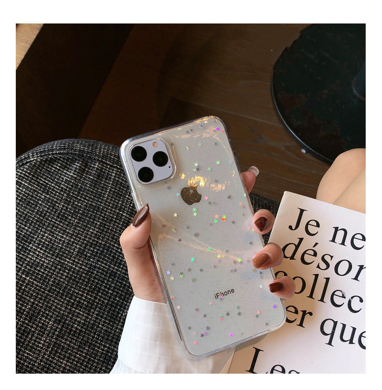 H3dde5c0d2e5044fb90677931140cc3de4 - GIMFUN Star Bling Glitter Phone Case for Iphone 11 Pro Max Clear Back Love Heart tpu Case Cover for Iphone Xr X 7 6 8 Plus 5s SE