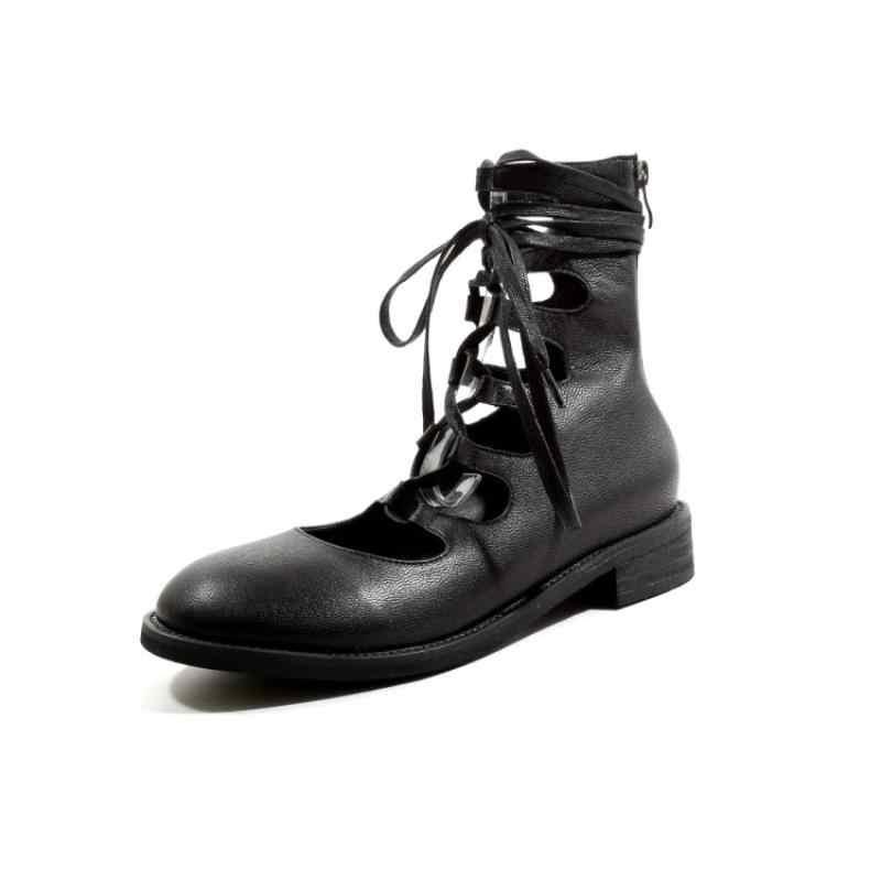 Yarım çizmeler kadınlar için lüks ayakkabı kadın tasarımcıları bahar kırmızı çizmeler dantel-up yuvarlak ayak topuk takozlar moda roma gladyatör ayakkabı