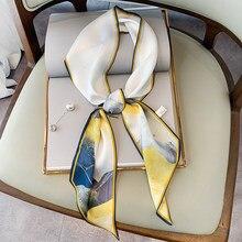 Marca de luxo cc simulação sarja seda tecido padrão flor cachecol streamer bandana bandana senhora wj20053