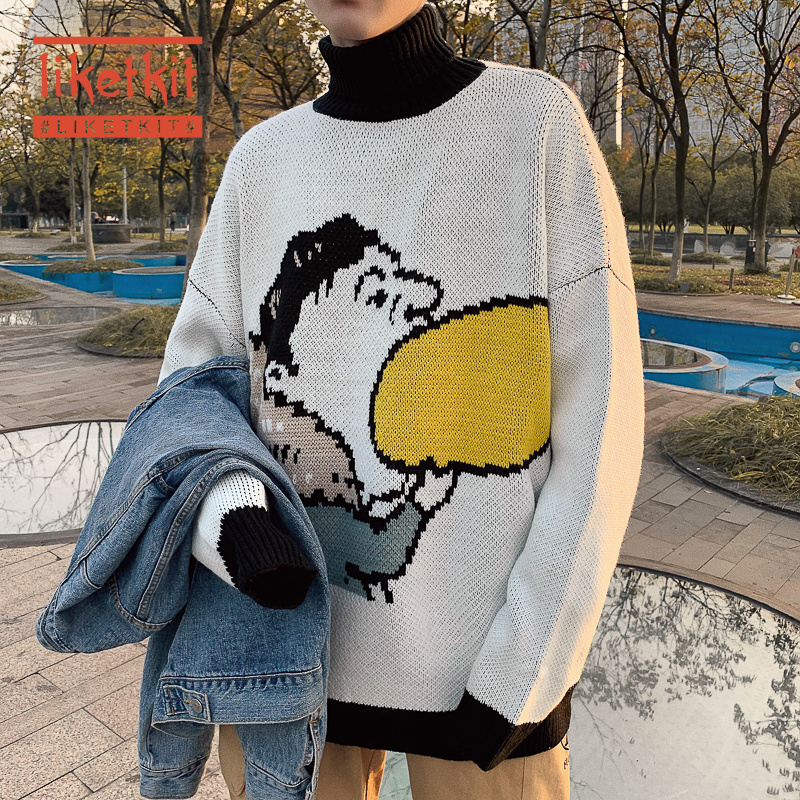 Liketkit 2020 Spring Turtleneck Sweater Men Funny Character Print Casual Fashion Pullover Korean Couples Oversize Streetwear INS