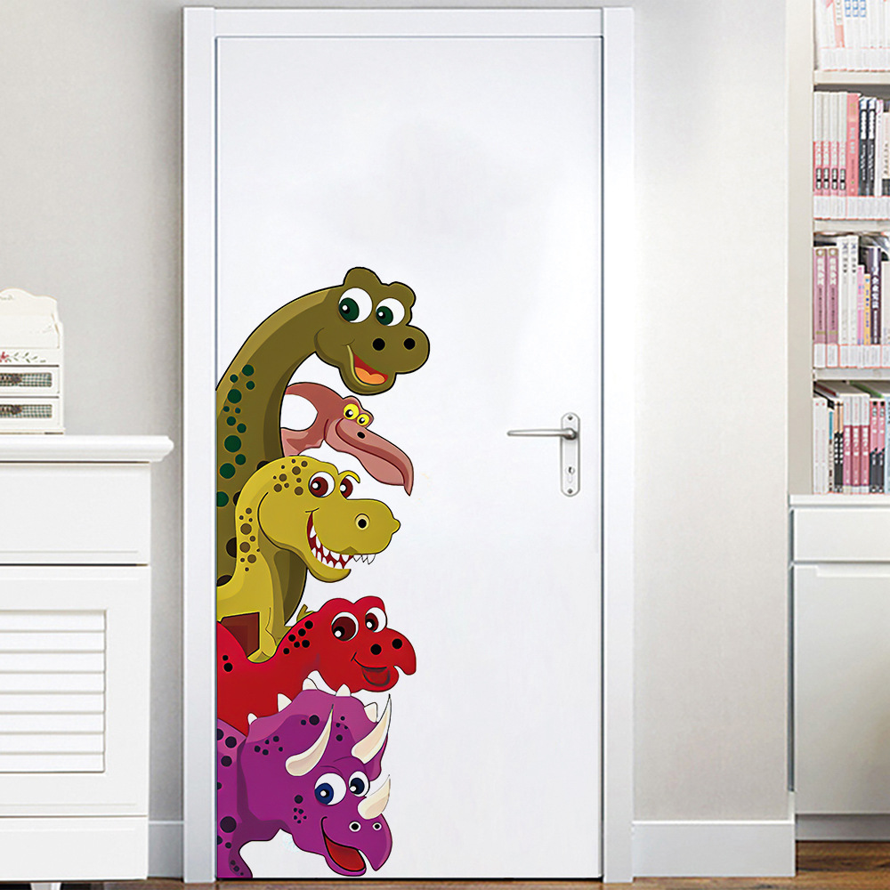 Cartoon Dinosaur Wall Stickers PVC Self-adhesive Wallpaper DIY Wall Muralsfor Kids Room Kindergarten Nursery Wall Decals