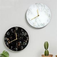 Nordic Marble Grain Wall Clock Restaurant Simple UV Board Hanging Clock Coffee Shop Modern Art Round Clock Ornaments