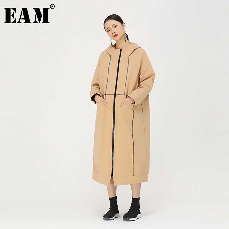 [EAM] Women Long Line Split Big Size Trench New Hooded Long Sleeve Loose Fit Windbreaker Fashion Tide Autumn Winter 2019 1K083