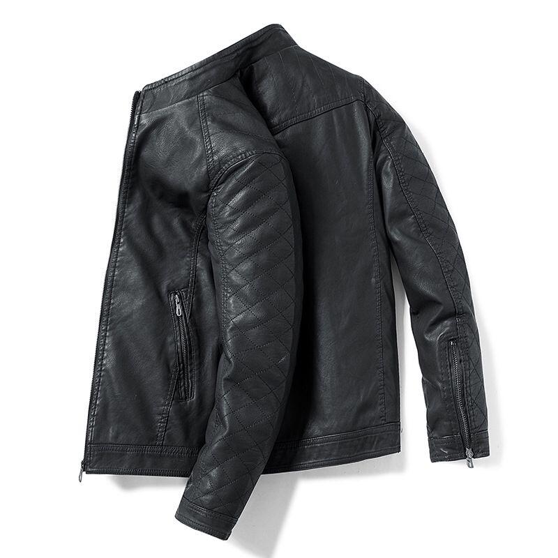 Mens Causal Leather Jacket Coat New Men Winter Outwear Biker Zipper Motorcycle Leather Jacket Male Design PU Leather Jacket Men