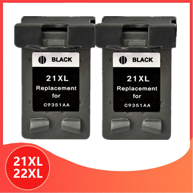 2x Black <font><b>21</b></font> <font><b>22</b></font> XL Ink <font><b>Cartridge</b></font> Replacement for <font><b>HP</b></font> <font><b>21</b></font> <font><b>22</b></font> for HP21 for HP22 21XL 22XL Deskjet F2180 F2280 F4180 F380 380 Printer image