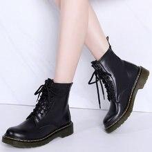 2019 nuevas Botas de cuero genuino para hombres y mujeres Botas de tobillo de invierno para parejas zapatos casuales de moda para damas Botas negras Mujer