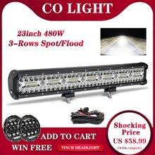 شريط إضاءة ليد مكون من 3 صفوف 23 بوصة مزود بإضاءة LED بقوة 480 واط مصباح عمل لقيادة السيارات مكون من 12 فولت و24 فولت لشاحنة جرارة لسيارات الطرق الوعرة 4 × 4 SUV ATV