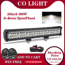 "CO LIGHT 3 Rows 23"" LED Light Bar 480W LED Bar Combo Auto Driving Work Light 12V 24V for Offroad Car Tractor Truck 4x4 SUV ATV"