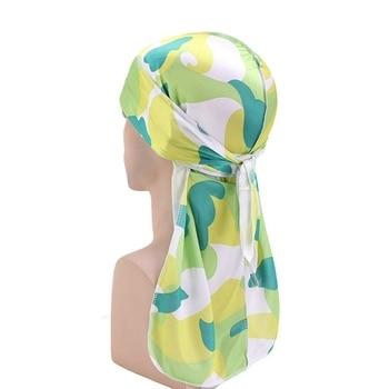 Fashion Camo Men's Silky Durags Turban Print Men Silk Durag Headwear Bandans Headband Hair Accessories Pirate Hat Waves Rags 8