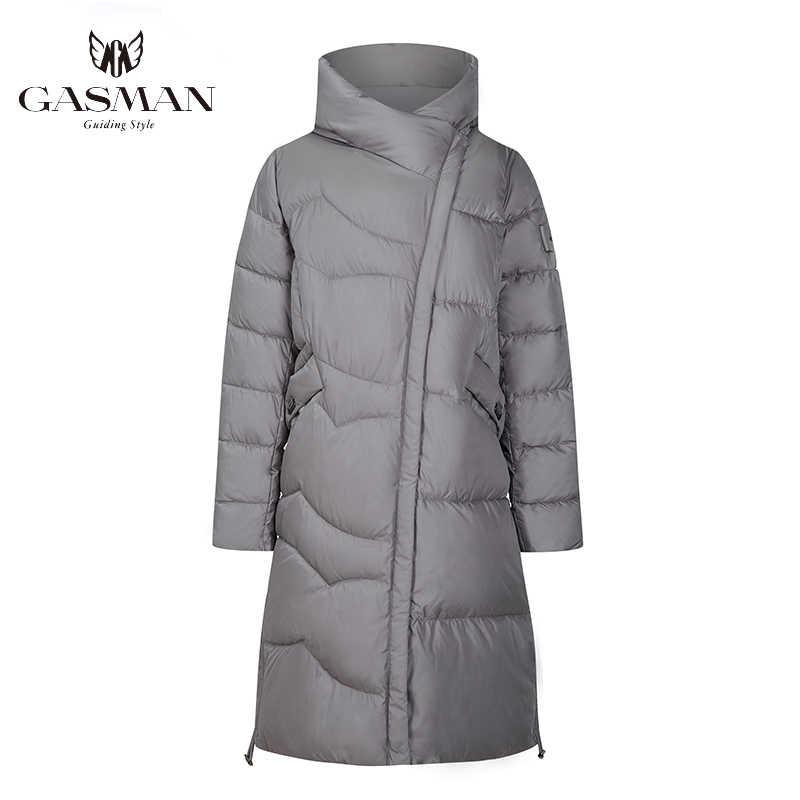 GASMAN 블랙 롱 패션 파카 여성 자켓 겨울 후드 코트 따뜻한 코튼 오버 코트 여성 퍼퍼 다운 자켓 플러스 사이즈 19022