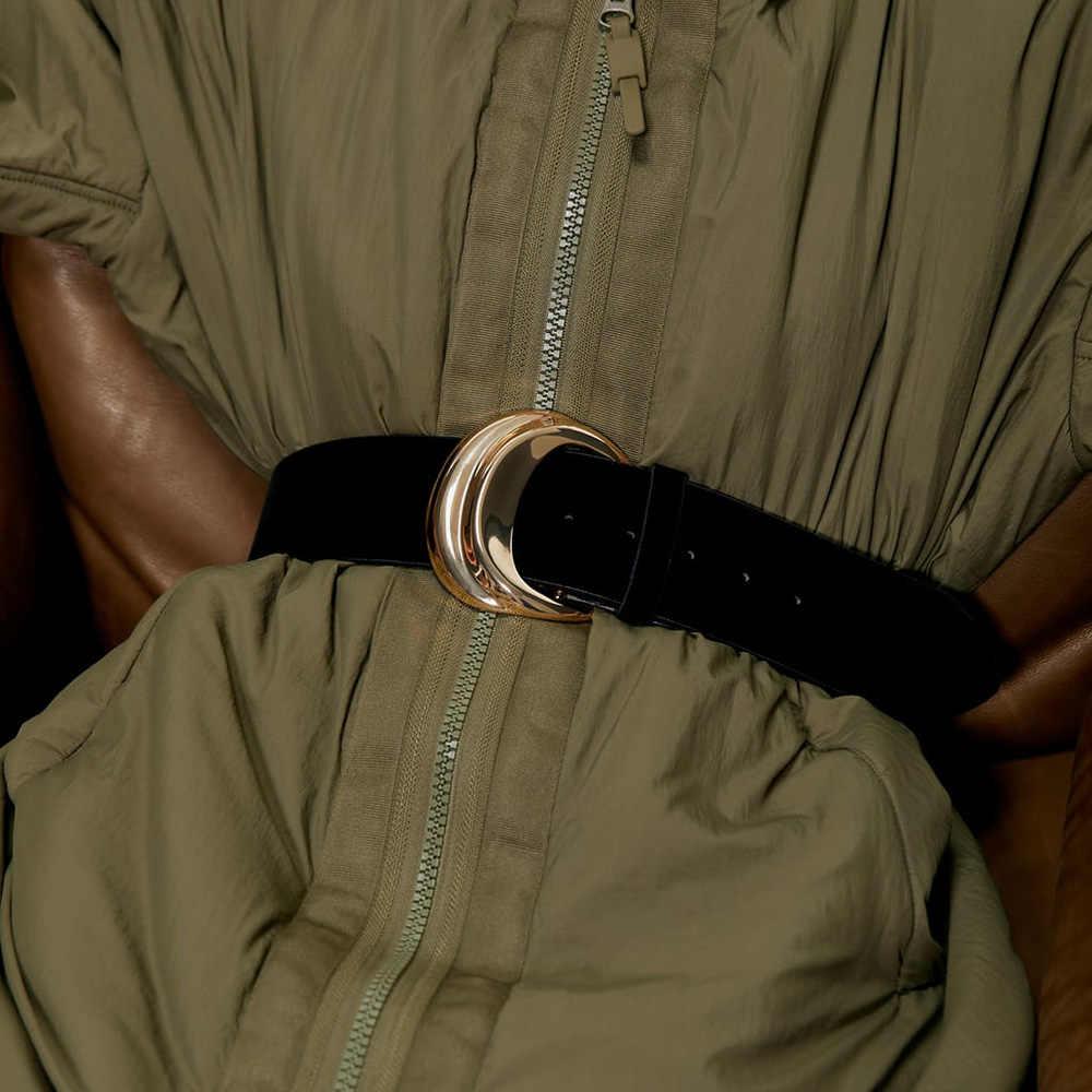 Za Vintage Boho Waist Belt Female Belt Round Smooth Buckle Wide Belts for Women and Men New Elegant Wedding Party Creative Gifts
