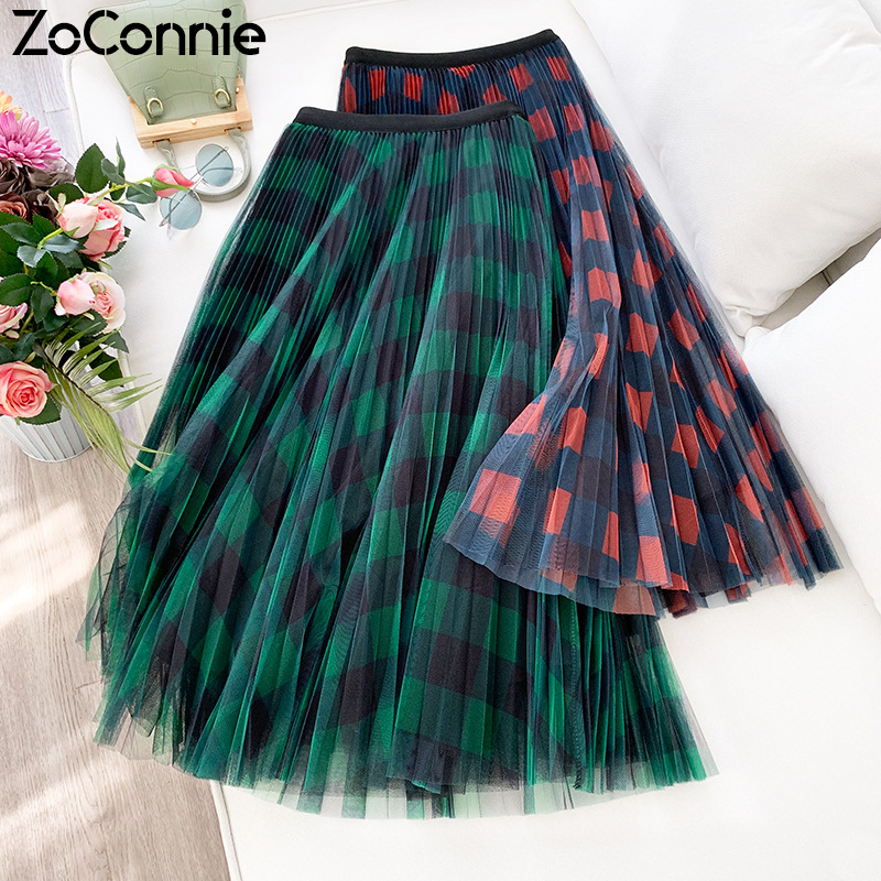 ZoConnie Red Green Plaid Long Tulle Skirts Women New 2020 Spring Elegant A Line Mesh Skirt Female High Waist Pleated Maxi Skirt