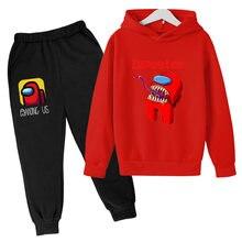 4-16 jesień poliester-bawełna Polar runo gra wideo bluza z nadrukiem spodnie kreskówkowe dwuczęściowa bluza z kapturem wśród nas Childre