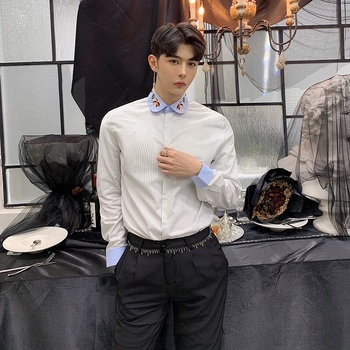Collar Long Sleeve Casual Shirt Couple Clothes Men's Stripe Embroidered Male Fashion Dress Shirts   Harajuku Streetwear B70