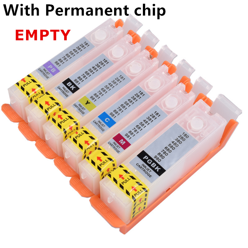 Refill PGI-580 Cli 581 Empty Refillable Ink Cartridge Permanent Chip For Canon TS8150/TS8151/TS8152/TS8250/TS8251/TS9150/TS9155
