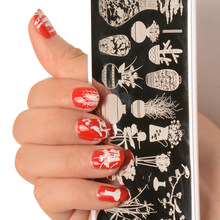 MiFanXi 12*6cm Rectangle Nail Stamping Plates Template Plate Manicure Nail Art Stamp Image