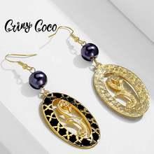 Женские серьги с жемчугом cring coco золотым и черным покрытием