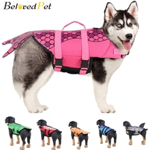 Dog Life Vest Swimsuit Dogs Swimwear Jacket Pets Swimming Safety Clothes Reflective Swimming Suit Pet Life Shark Mermaid Design