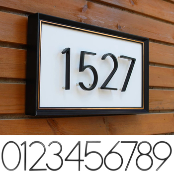 Número de casa flotante negra de 5 pulgadas n ° 0-9 alfabeto...