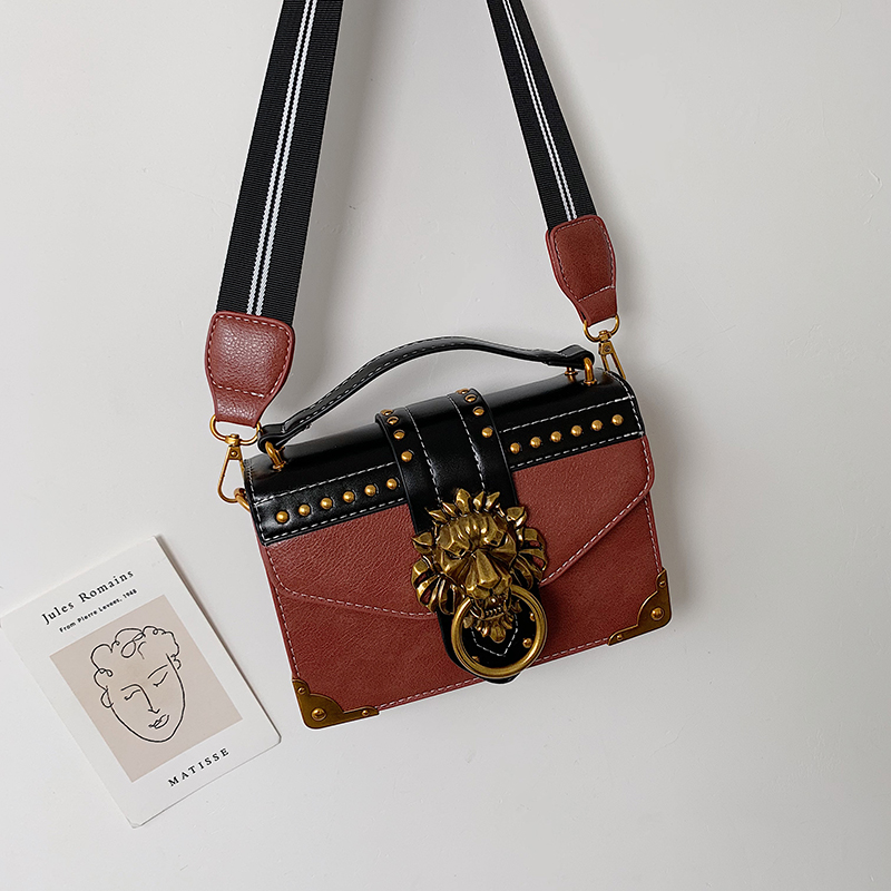 H3ddfc080758d434a8418231d7d7b78665 - Female Fashion Handbags Popular Girls Crossbody Bags Totes Woman Metal Lion Head  Shoulder Purse Mini Square Messenger Bag