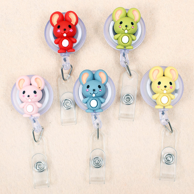 Cartoon Rabbit Mouse Retractable Creative Plastic Badge Holder Reel Student Nurse Exhibition Enfermera Girl Name Card Chest Card