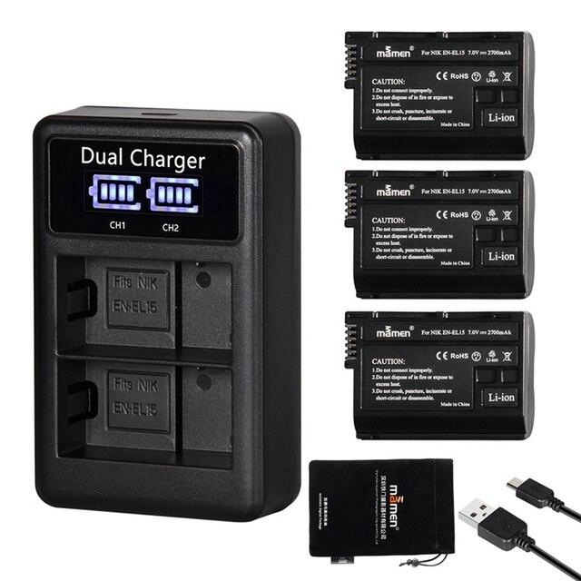 ABHU Mamen 3Pcs EN EL15 EN EL15A EN EL15 ENEL15 Digital Camera Battery + LCD USB Dual Charger for Nikon D810 D7000 D750 V1 D610