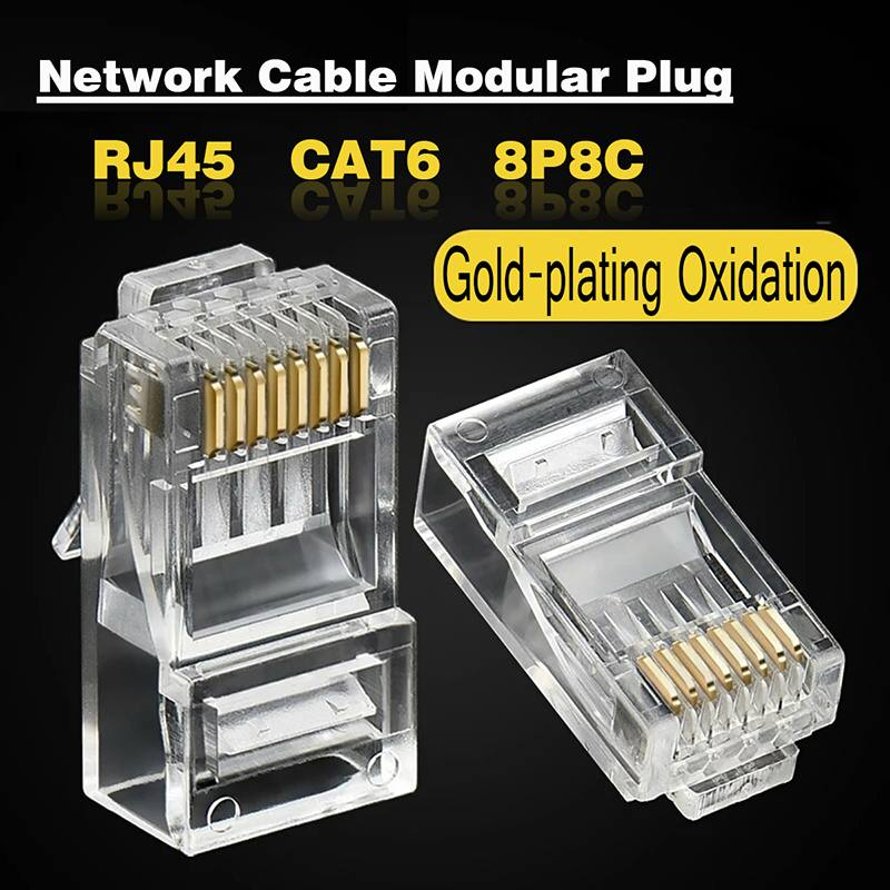 CLAITE 1000 Pcs CAT6 Plug EZ RJ45 Network Cable Modular 8P8C Connector End Pass Through